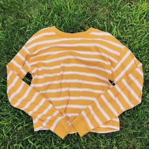 Forever 21 Mustard Yellow & White Striped Top